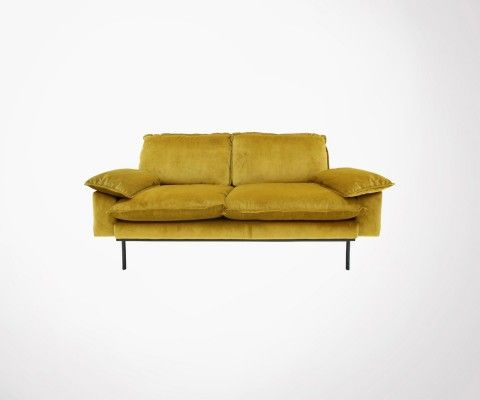 2 seater retro velvet sofa AFFAL - color of your choice