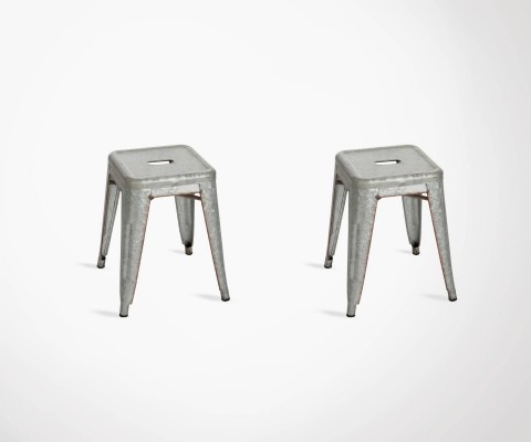 Set of 2 galvanized metal design table stools POCHE