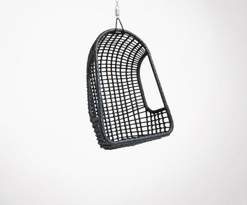 Black rattan outdoor hanging chair CESAR