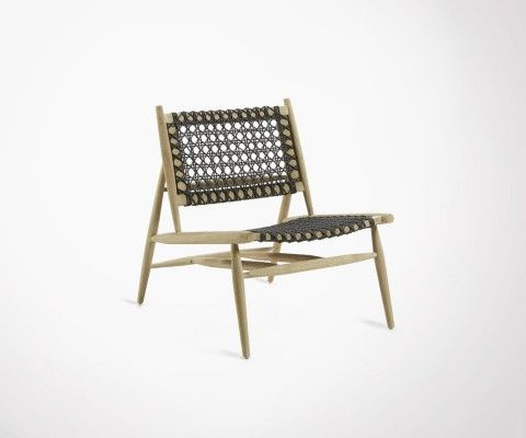 Design armchair teak and dark gray rope KINA