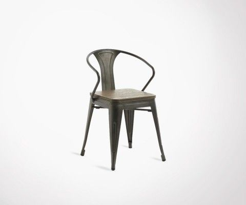 GIBSON graphite metal armchair