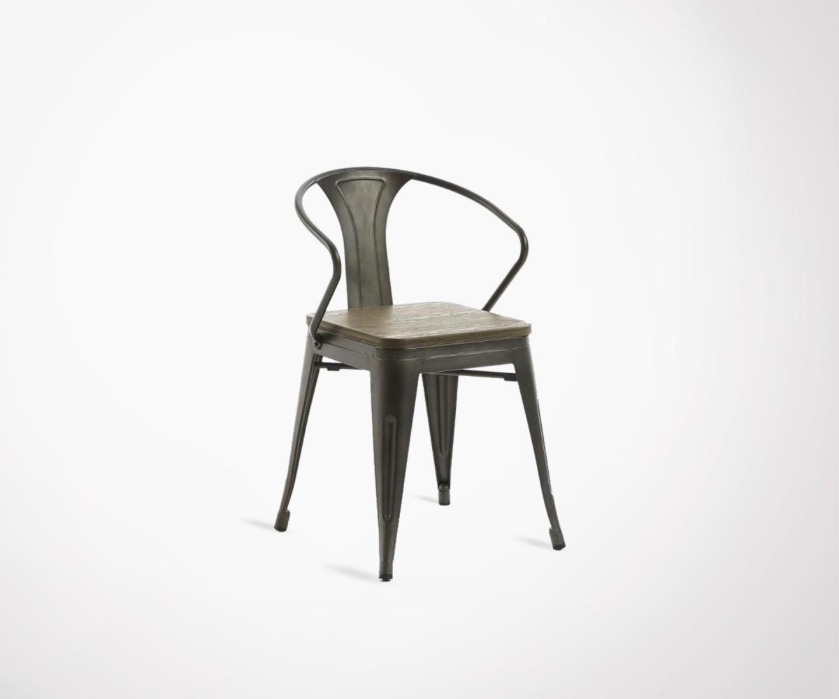 chaise m tallique assise bois de bambou style industriel ann es 20. Black Bedroom Furniture Sets. Home Design Ideas