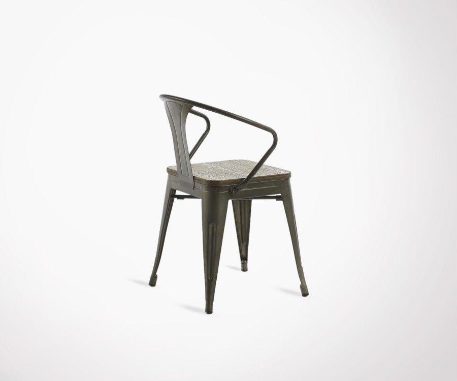 Chaise bras métal graphite bambou GIBSON
