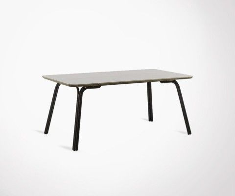 Table 180cm black steel legs poly-cement top REB
