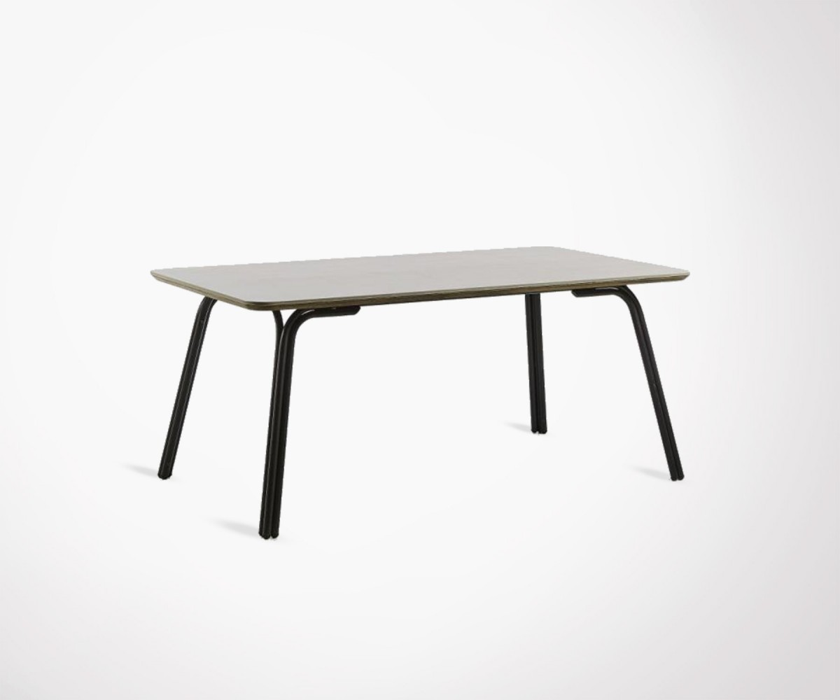 table 180cm 8 personnes pieds acier et plateau poly cement. Black Bedroom Furniture Sets. Home Design Ideas