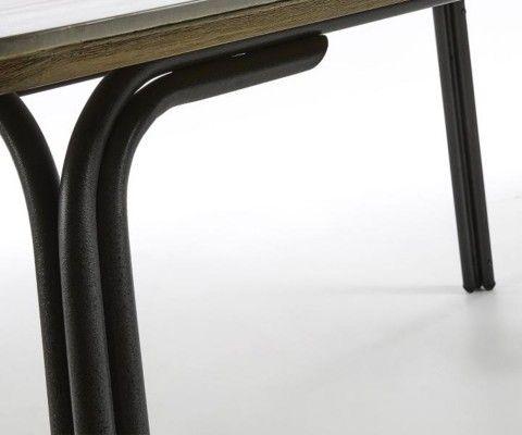 Table 180cm métal noir poly-cement REB