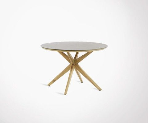 Table à dîner ronde 120cm bois naturel GLOWA