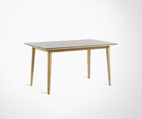 Table à manger int/ext 160x90cm bois et poly-cement KHLEA