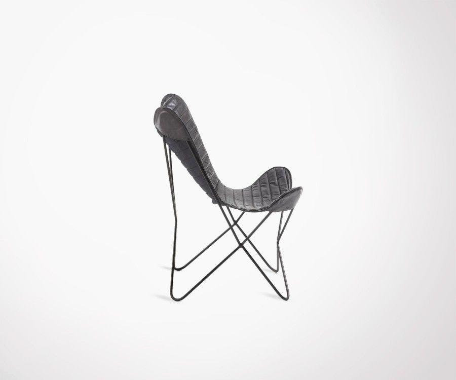 fauteuil papillon cuir noir et m tal style industriel livraison en eu. Black Bedroom Furniture Sets. Home Design Ideas