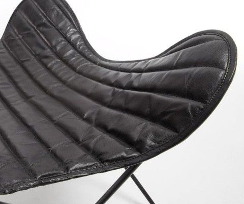 Fauteuil papillon métal cuir noir RIDE