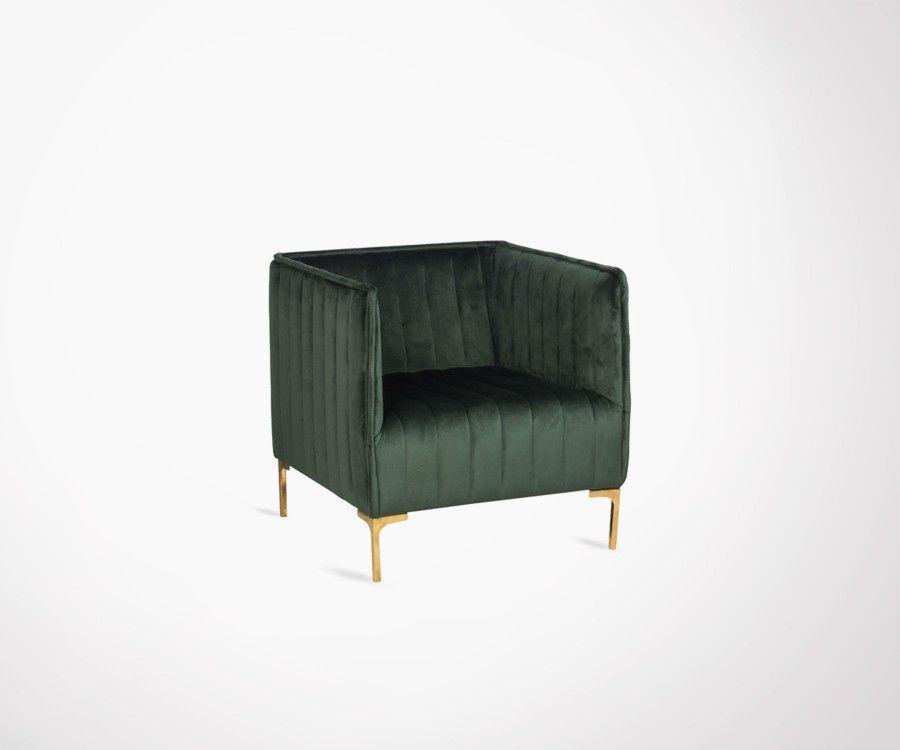 Fauteuil velours vert design BANDLE