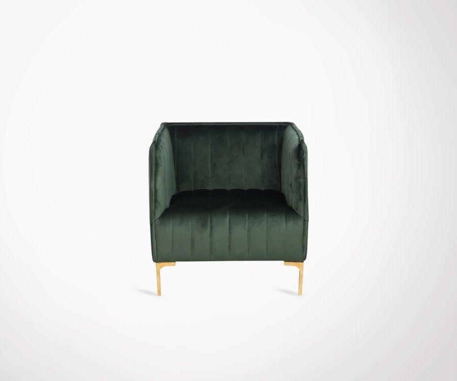 Green Velvet Design Armchair X Fauteuil Velours Vert Bandle