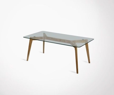Coffee table 110cm scandinavian glass top and wood GUTIN