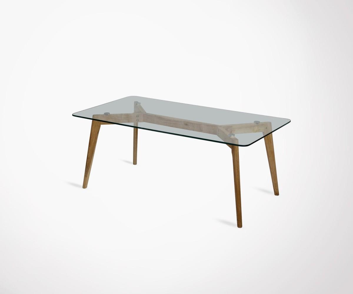 Table basse verre pieds bois design scandinave et prix for Table basse scandinave noir et bois