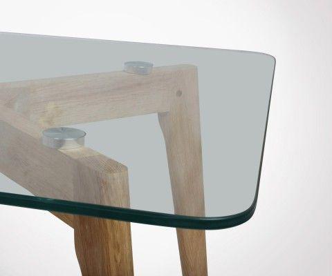 Table basse 110cm scandinave verre et bois GUTIN
