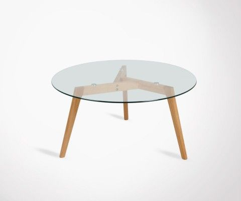 Round coffee table 80cm glass and wood ZORP