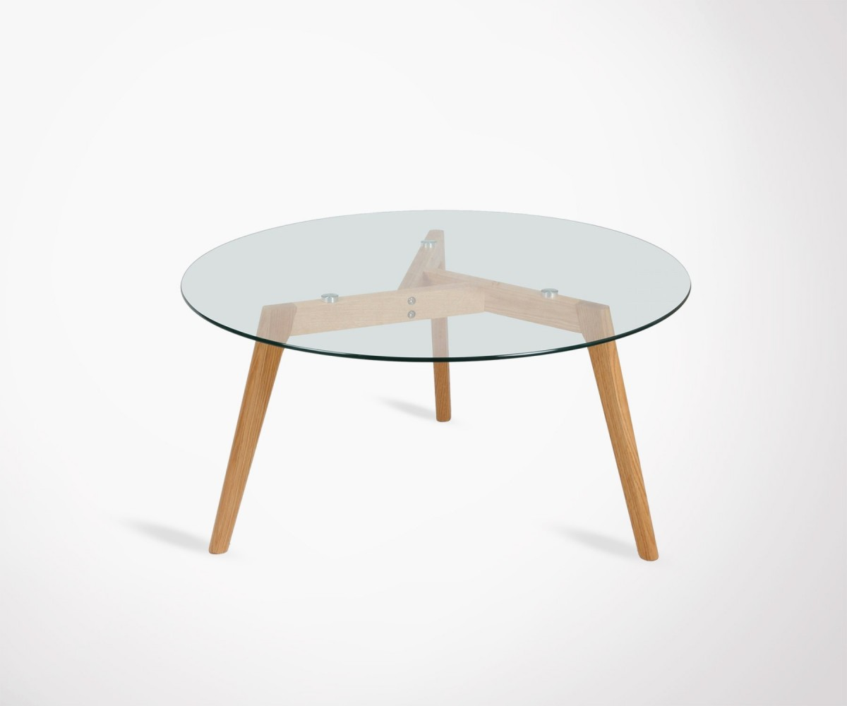 Table basse 80cm ronde plateau verre pieds bois style for Table basse scandinave ronde copenhague 80