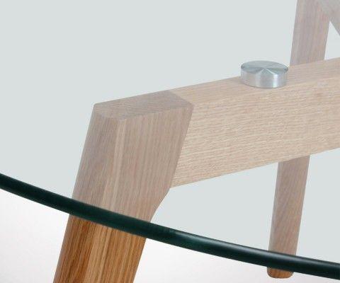 Table basse ronde 80cm verre et bois ZORP