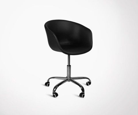 Chaise de Bureau Design RAY - Simili Cuir Noir