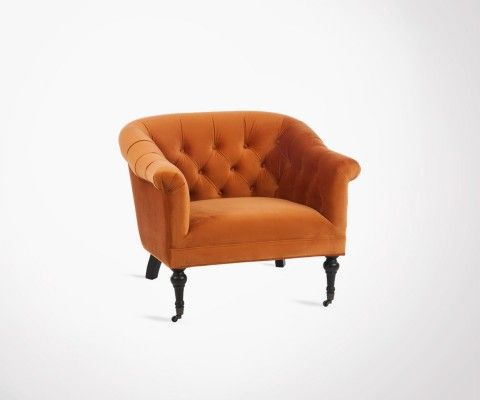 Vintage upholstered armchair velvet ORANGE