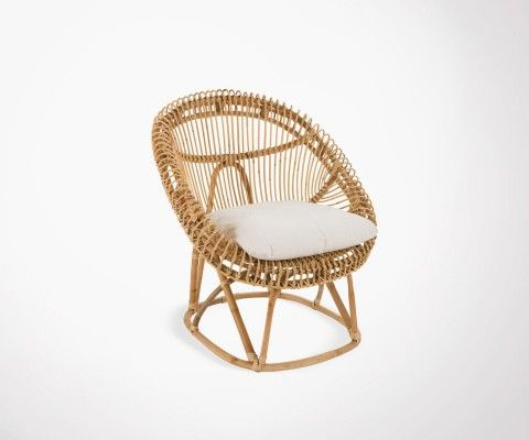 Natural rattan lounge chair with cushion ZOEY