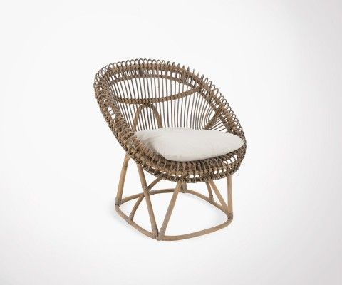 Gray rattan lounge chair with cushion ZOEY