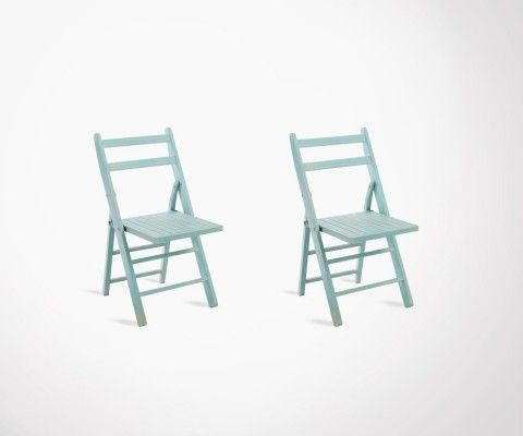 Set of 2 folding azure wood chairs DEAUVILLE
