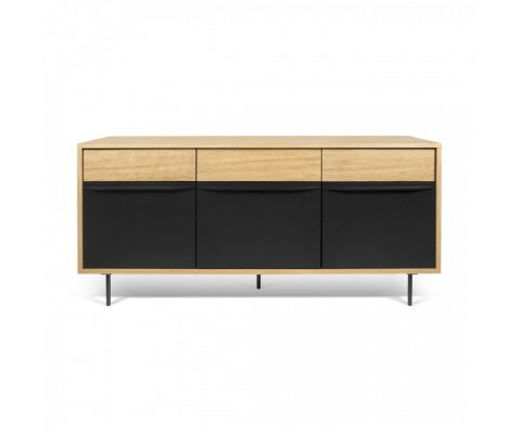 Sideboard design 160cm modern natural wood and black LIME