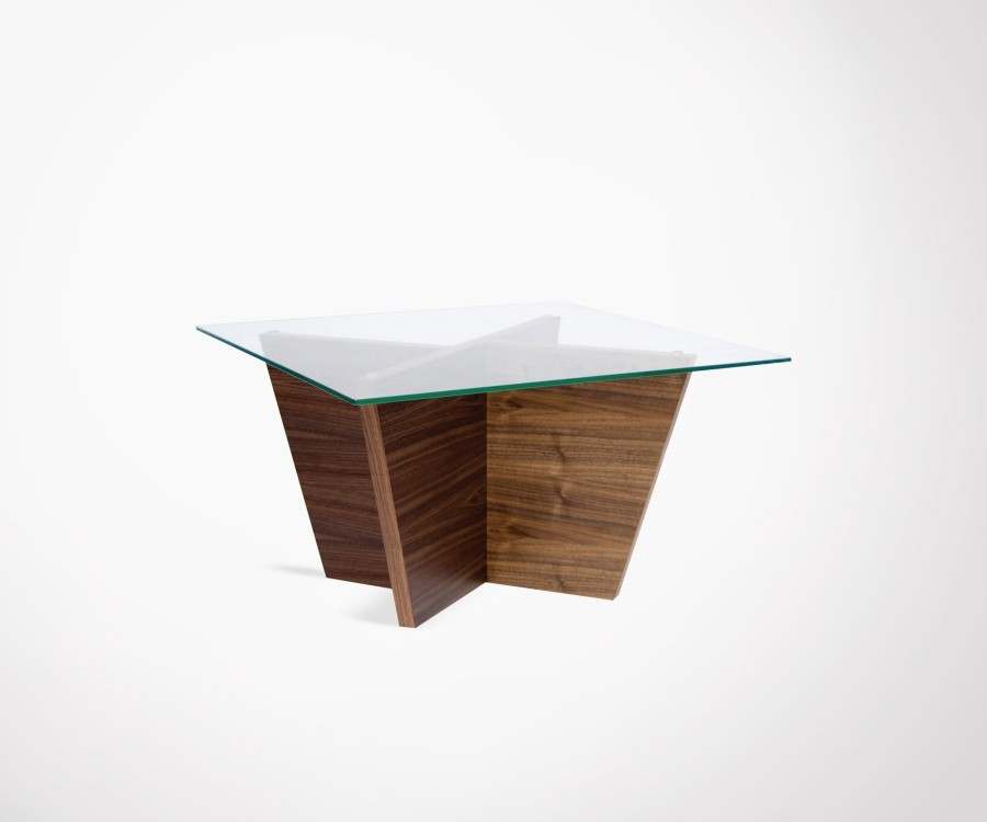Table d'appoint verre et noyer OLIVA - Temahome