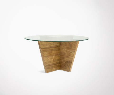 Round glass and walnut side table OLIVA - Temahome
