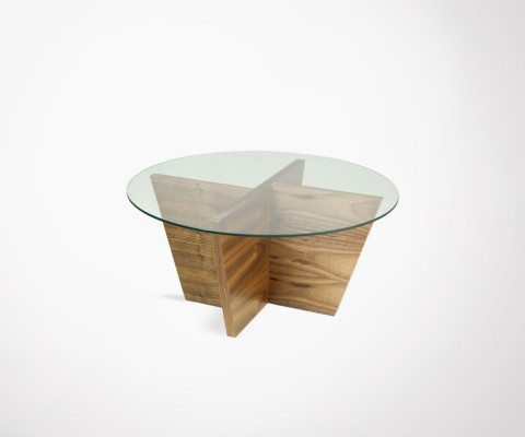 Table d'appoint ronde verre et noyer OLIVA - Temahome