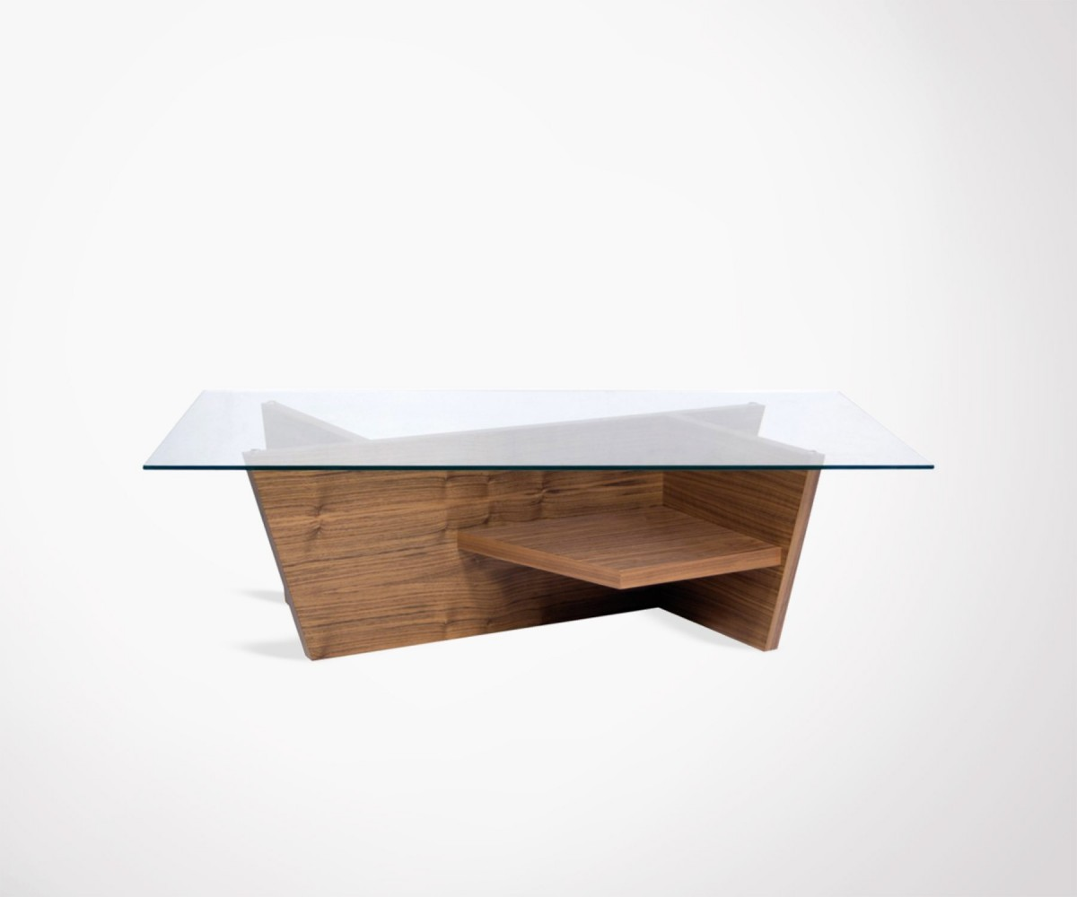 Table basse 120cm en verre design et noyer oliva marque for Table basse scandinave noyer