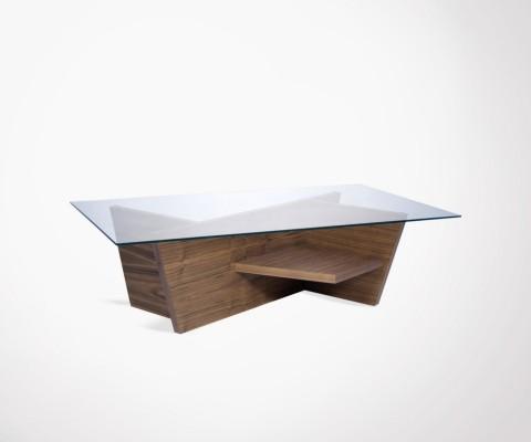Table basse 120cm verre et noyer OLIVA - Temahome