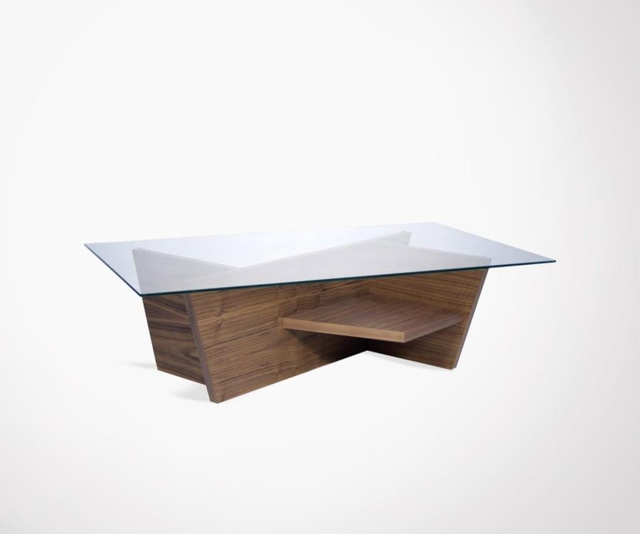 table basse 120cm en verre design et noyer oliva marque. Black Bedroom Furniture Sets. Home Design Ideas