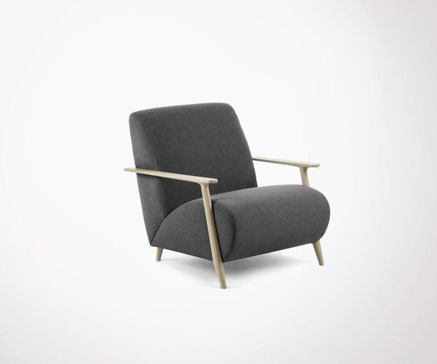 fauteuil design ethnique boh me tissu gris et bois de fr ne. Black Bedroom Furniture Sets. Home Design Ideas
