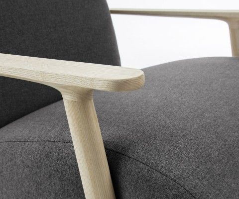 Fauteuil design lounge tissu et bois MARTINI