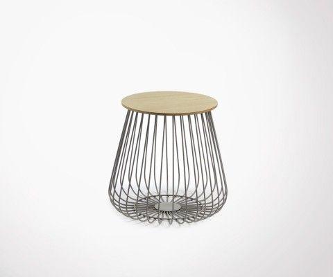 Table d'appoint design 44cm métal et bois TRABATA