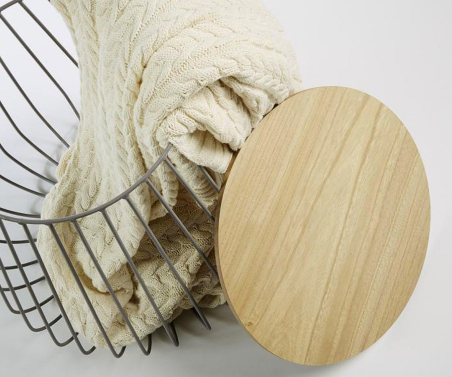 Table d'appoint design métal et bois TRABATA