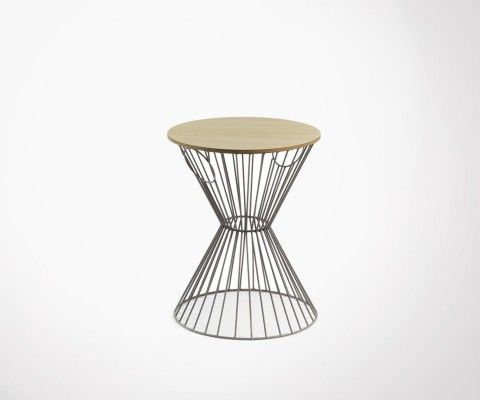 Wire mesh side table and wood JEMBE