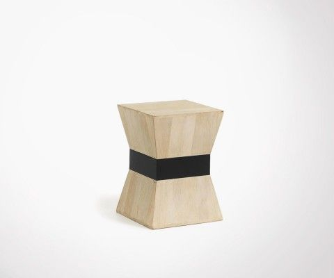 Natural wood ethnic side table HOBA