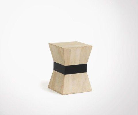 Natural wood ethnic side table HOBA