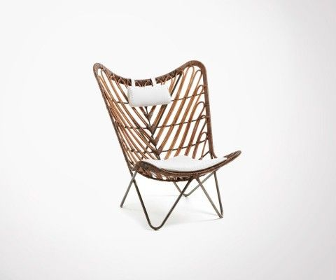 Butterfly rattan armchair with cushions COBRA