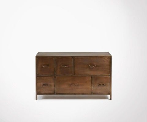120x70cm copper metal buffet with drawers WOLE
