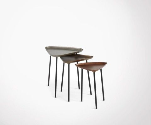 Trio tables basses design zinc laiton cuivre ZLC