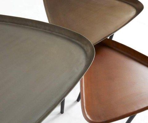 Trio tables basses design zinc laiton cuivre ZLC