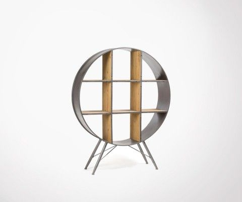 Industrial style round metal shelf PLUTOR