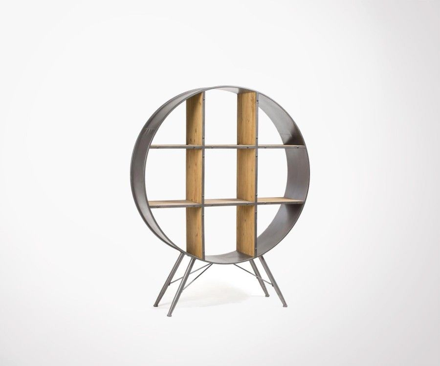 Étagère ronde sur pied métal bois style industriel PLUTOR