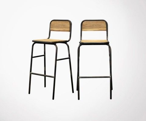 Set of 2 bar stools 76cm inspired by school chair SCOTT