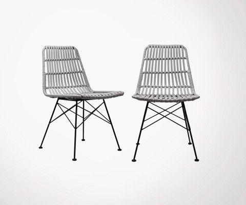 Lot 2 chaises extérieur aspect rotin SURABAYA - Red Cartel