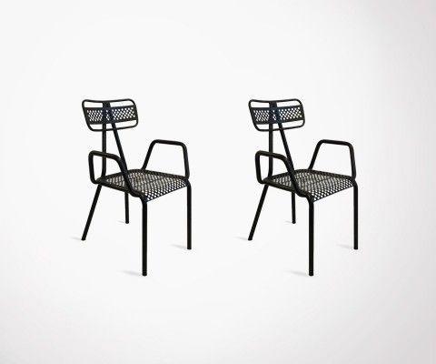 2 chaises extérieur métal avec accoudoirs ALCAZARE - Red Cartel